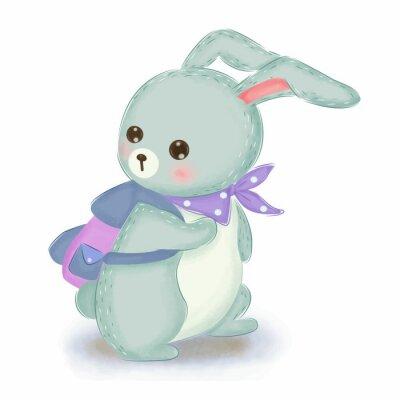 Póster adorable blue bunny illustration for nursery decoration