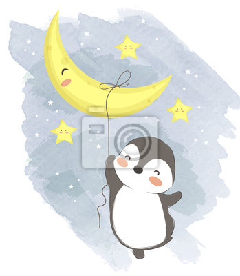 Póster adorable penguin illustration for personal project,background, invitation, wallpaper and many more