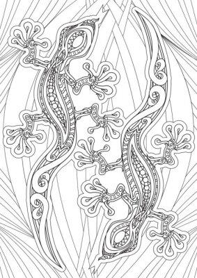 Póster Adulto Libro para colorear - ilustración. Conjunto de tatuajes: Lizrds. Ilustración del vector.