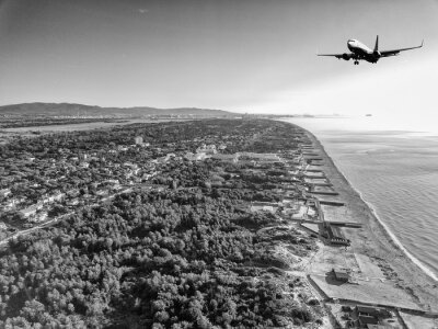 Aerial view of an aircraft during landing