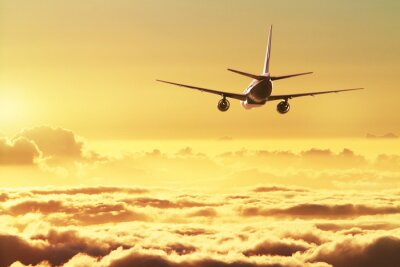 Póster Aeroplano en el cielo al atardecer