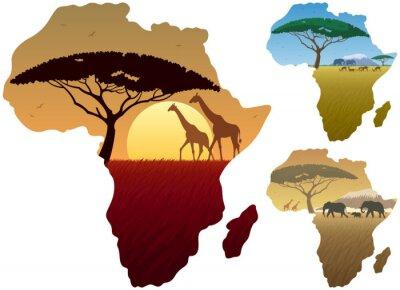 Póster África Paisajes / Tres paisajes africanos en el mapa de África.