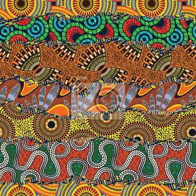 African style fabric patchwork background abstract vector seamless pattern