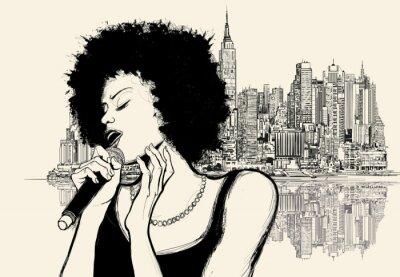 Póster afro cantante de jazz americano