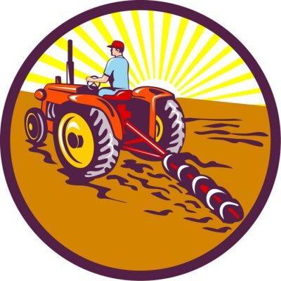 Agricultor, tractor, círculo, retro