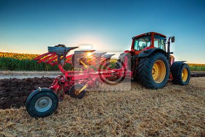Agricultor, tractor, preparación, tierra, cultivador
