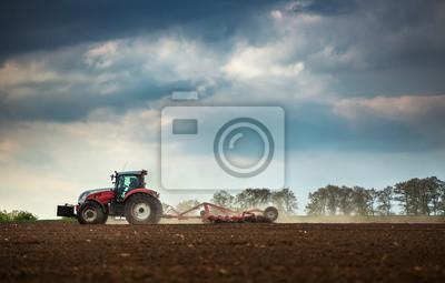 Agricultura, tractor, arado, pulverización, campo