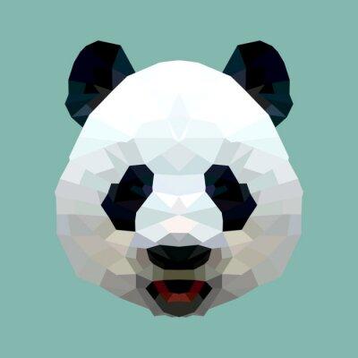 Póster aislado polígono panda cabeza vectorial