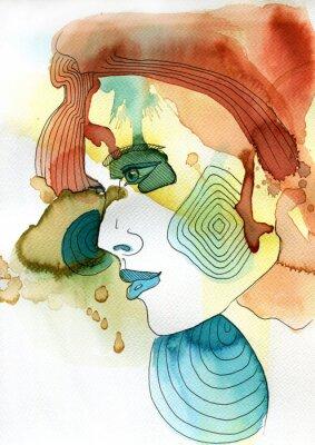 Póster Akwarelowy retrato kobiety