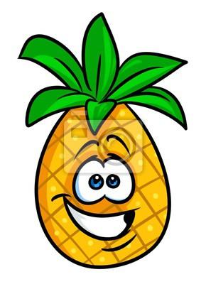 alegre fruta piña ilustración de dibujos animados aislado imagen