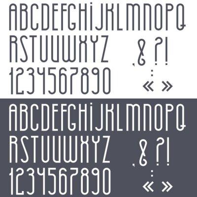 Póster Alfabeto blanco y negro, números y signos de puntuación