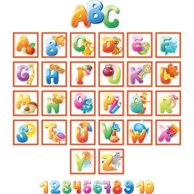 Póster Alfabeto colorido para los niños con fotos