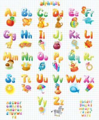 Póster Alfabeto divertido con imágenes para niños