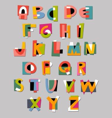Póster Alfabeto fuente abstracta. Papel estilo de recorte