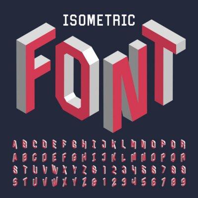 Póster Alfabeto fuente del vector 3D isométrico. Isométrico letras, números y símbolos. Tridimensional vector stock tipografía para los títulos, carteles, etc.