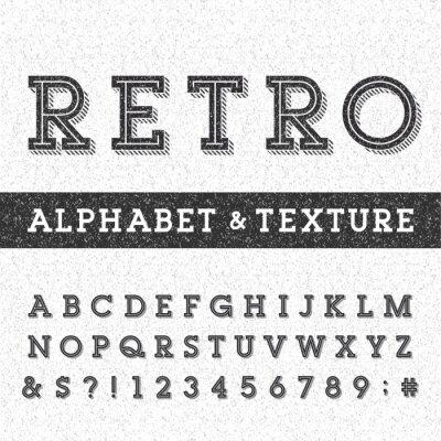 Póster Alfabeto fuente Retro vector con angustiada superposición de texturas. Cartas Serif tipo, números y símbolos en un fondo rayado apenado. Vector de la tipografía para las etiquetas, títulos, carteles,