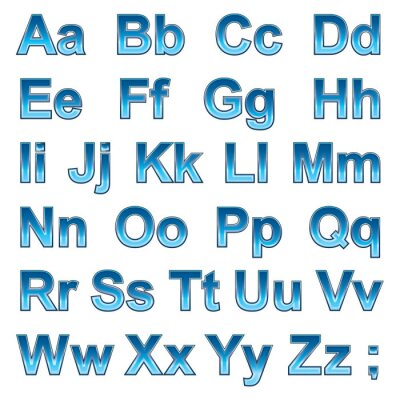 Póster Alfabeto pseudo 3d letras