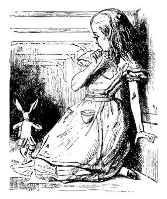 Póster Alice Watches the White Rabbit Run Away vintage illustration