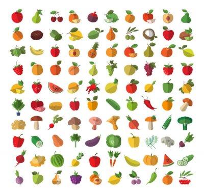 Póster Alimentos. Las frutas y hortalizas. Conjunto de iconos de colores
