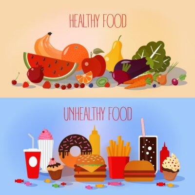 Póster Alimentos saludables y comida rápida no saludable