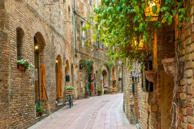 Póster Alley in old town San Gimignano Tuscany Italy