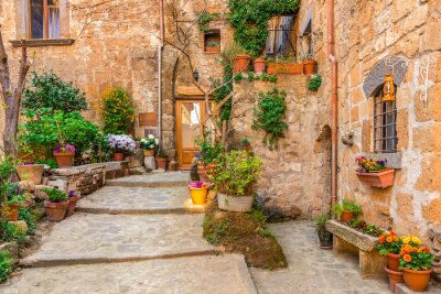 Póster Alley in old town Tuscany Italy