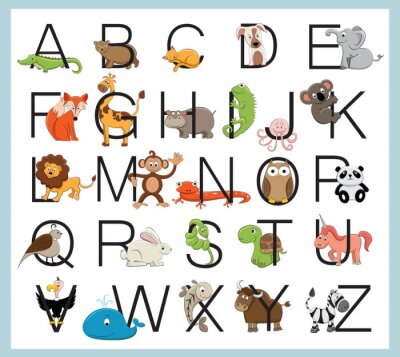 Póster Alphabet animals