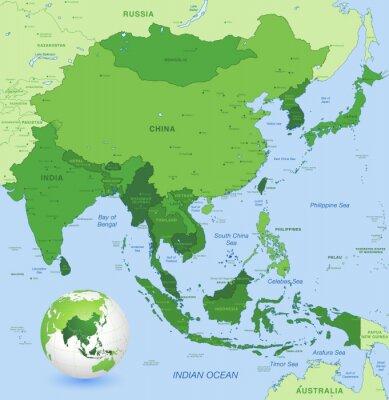 Póster Alto detalle de vectores mapa de Far East Asia