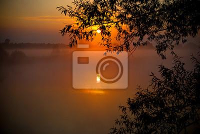 amanecer brumoso en el lago