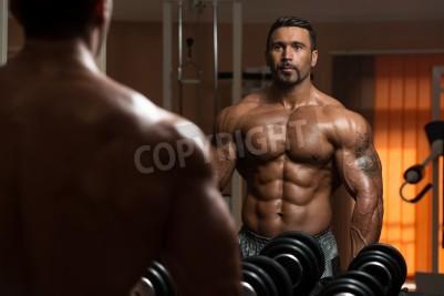 Póster América Bodybuilder está resolviendo Bíceps - Rizos de concentración con mancuernas