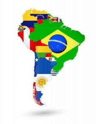 Póster América del Sur Mapa con las banderas y la ubicación en el mapa del mundo