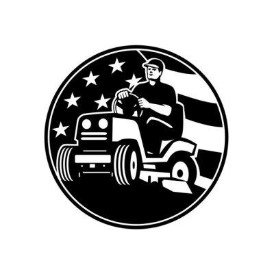 American Gardener Groundsman Groundskeeper Riding Ride-on Lawn Mower USA Flag Retro
