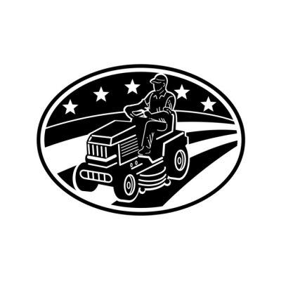 American Gardener Mowing Lawn Ride-on Mower Retro Black and White