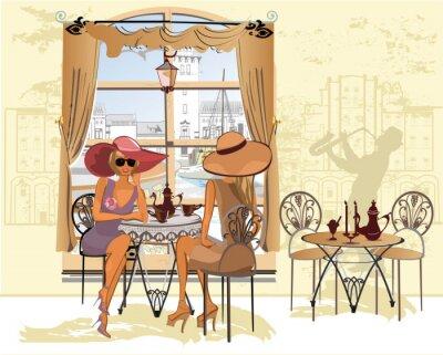 Póster Amigos en el café de beber café.