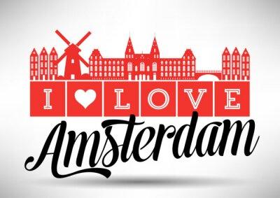 Póster Amo Amsterdam Skyline Design