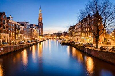 Póster Amsterdam en la noche, Países Bajos