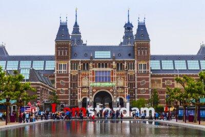 Póster Amsterdam, Países Bajos. La plaza frente al museo del Estado