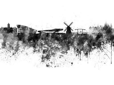 Póster Amsterdam skyline in black watercolor