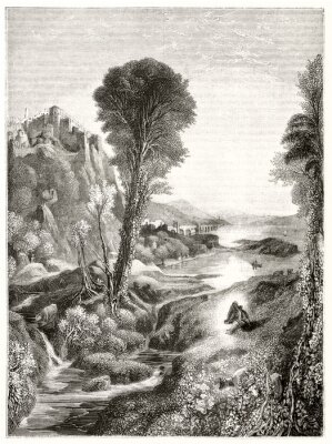 Póster Ancient grayscale etching style illustration of a majestic natural landscape at sunset with a river leading to the sun. By Marvy after Turner publ. on Magasin Pittoresque Paris 1848