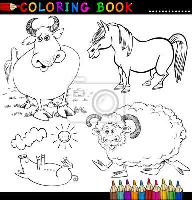 Animales de granja para colorear libro o página carteles para la ...