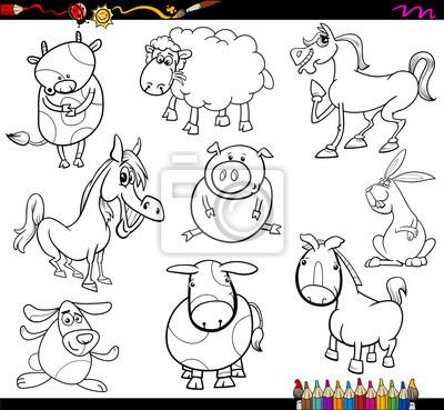 Animales de granja para colorear página carteles para la pared ...