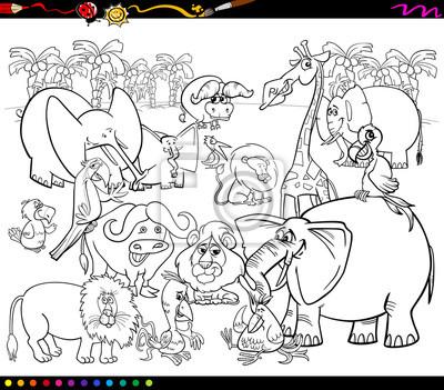 Animales de safari para colorear carteles para la pared • pósters ...
