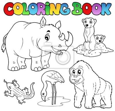 Animales del zoológico de libros para colorear conjunto 1 carteles ...