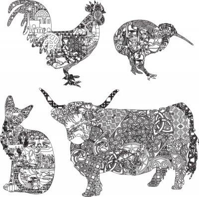 Póster animales en adornos étnicos