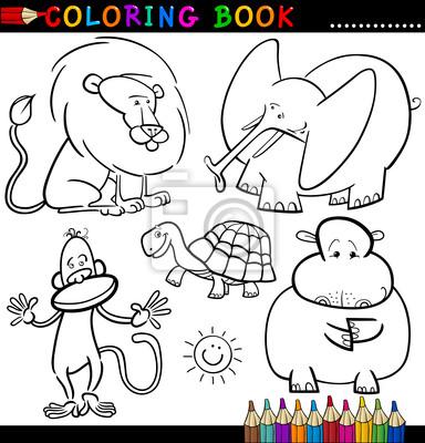 Animales para colorear libro o página carteles para la pared ...