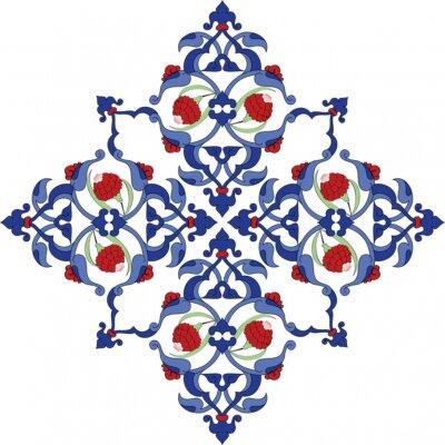 Póster Antigua tradicional del diseño de la ilustración del azulejo turco del otomano