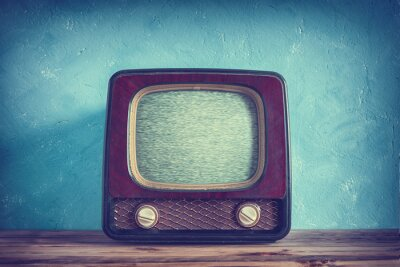 Póster Antigua TV vintage con estuche de madera