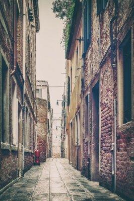 Póster Antigua vista de la calle en Venecia, Italia.