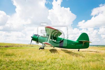 antiguo avión en la hierba verde