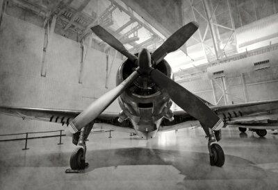 Póster Antiguo avión en un hangar